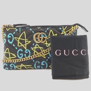 Preowned Gucci Marmont GG Ghost Black Leather Bag